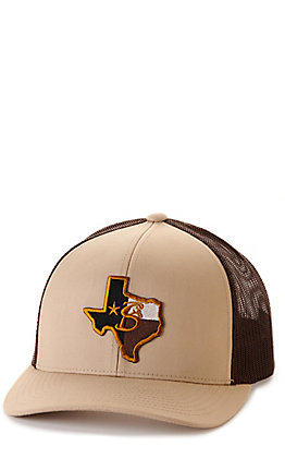 Stackin Bills Khaki & Brown Texas Logo Patch Snapback Cap