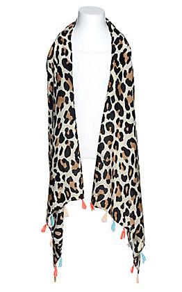 Grace & Emma Girls' Cream Leopard Print with Tassels Vest