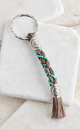 Cowboy Collectibles Granite Horse Hair Turquoise Beaded Keychain