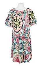 James C Girls Pink and Blue Neon Printed Dress