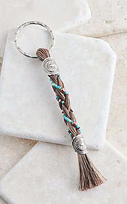 Cowboy Collectibles Chestnut Horse Hair Multicolor Beaded Keychain