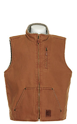 Cowboy Workwear Boys' Shadow Brown Canvas with Sherpa Lining Vest