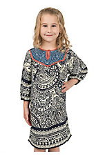 Flying Tomato Girls Navy & Cream Paisley Print Long Sleeve Dress