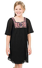 Flying Tomato Girl's Black with Embroidered Trim Short Sleeve