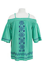 Flying Tomato Girl's Sea Foam Green with Blue Aztec Embroidery Off Shoulder Bell Sleeve Dress
