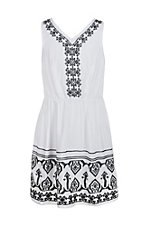 Flying Tomato Girl's White with Black Embroidery Dress