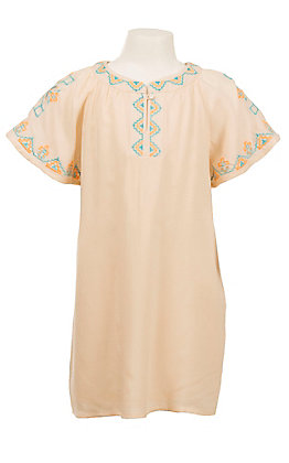 Flying Tomato Women's Beige with Orange and Blue Aztec Embroidery Butterfly Sleeve Dress