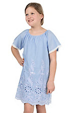 Flying Tomato Girl's Light Blue with White Embroidery Short Sleeve Dress