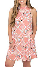 Peach Love Women's Peach Aztec Skull Dress
