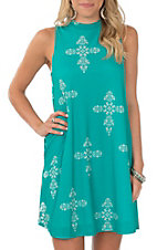Peach Love Women's Teal Cross Sleeveless Dress