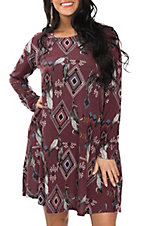 Peach Love Women's Burgundy Aztec Feather Dress