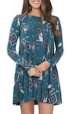 Peach Love Women's Teal Feather Print Dress