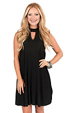 Peach Love Women's Black with Keyhole Sleeveless Tent Dress