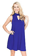Peach Love Women's Royal Blue with Keyhole Sleeveless Tent Dress