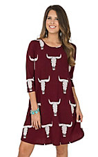 Peach Love Women's Maroon Skull Print Dress