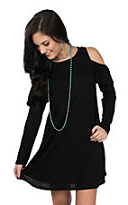 Peach Love Women's Black Cold Shoulder Long Sleeve Dress