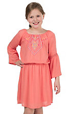 Flying Tomato Girl's Coral with Aztec Embroidery Long Bell Sleeve Dress