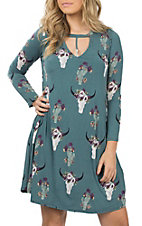 Berry N Cream Women's Blue Skull and Cactus Print Long Sleeve Tunic Dress
