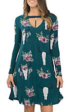 Berry N Cream Women's Teal Skull Print Dress