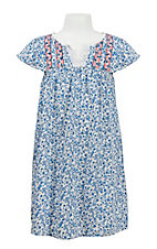 Flying Tomato Girl's Blue Paisley Print with Pink Floral Embroidery Butterfly Sleeve Dress