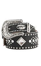 Katydid Women's Black Tooled w/ Crystals Wide Waist Belt