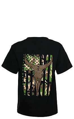 Moss Brothers Cowboys Unlimited Boys' Black Longhorn Camo Flag Short Sleeve T-Shirt