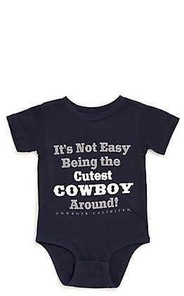 Moss Brothers Cowboys Unlimited Infant Navy Cutest Cowboy Around Short Sleeve Onesie