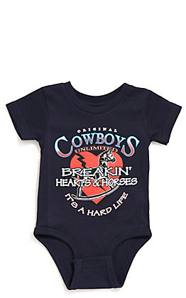 Moss Brothers Cowboys Unlimited Infant Navy Breakin' Hearts & Horses Short Sleeve Onesie