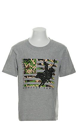 Moss Brothers Cowboys Unlimited Heather Grey Camo Flag Bull Rider Short Sleeve T-Shirt