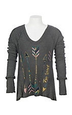 Vintage Havana Girls Grey Free Spirit Arrows Long Sleeve Casual Knit Shirt