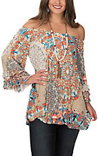 James C Taupe, Coral and Mint Medallion Print 3/4 Ruffle Sleeves Fashion Top