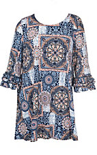 James C Women's Navy and Salmon Medallion Print Ruffle Sleeve Dress - Plus Size