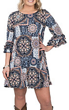 James C Women's Navy and Salmon Medallion Print Ruffle Sleeve Dress