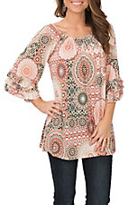 James C Women's Coral and Taupe Medallion Print Ruffle Sleeve Fashion Shirt