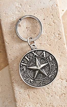 AndWest Antique Silver Texas Star Keychain
