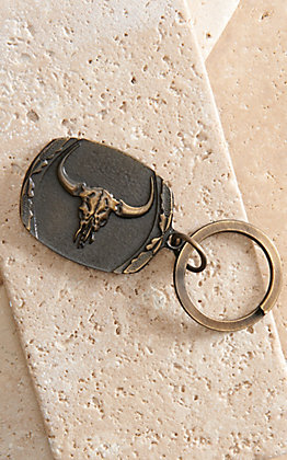 AndWest Antique Brass Longhorn Skull Keychain