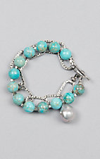Kori Green Turquoise Bead and Oval Chain with Pearl Bracelet