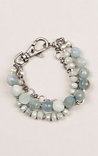 Kori Green Silver and Aquamarine Beaded Three Strand with Chain Bracelet