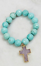 Kori Green Faceted Magnesite Druzy Cross