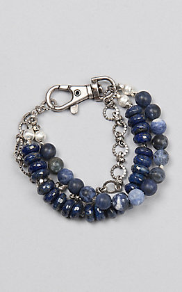 Kori Green Navy Beaded Three Strand with Chain Bracelet