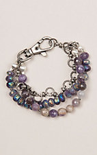 Kori Green Purple Three Strand with Chain Bracelet