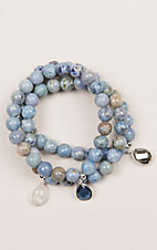 Kori Green Light Blue Three Strand Tear Drop Charm Bracelet