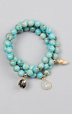 Kori Green Turquoise Three Strand Tear Drop Charm Bracelet