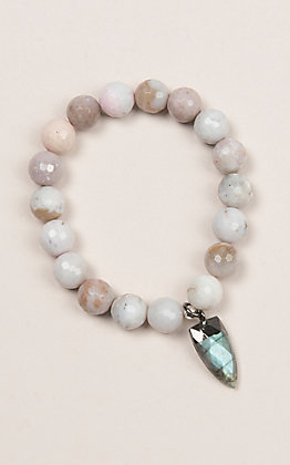Kori Green Off White Bead and Stone Tooth Charm Bracelet