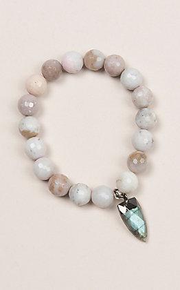 Kori Green Off White Bead and Stone Tooth Charm Bracelet