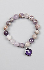 Kori Green Multi Purple Bead with Purple Diamond Charm Bracelet