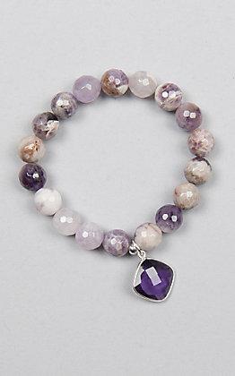 Kori Green Multi Purple Bead with Purple Diamond Charm Bracelet