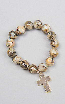 Kori Green Multicolored Brown Bead with Druzy Cross Bracelet