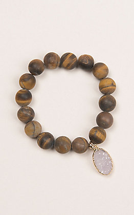 Kori Green Wood Bead with Druzy Oval Charm Bracelet