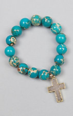 Kori Green Turquoise Bead with Druzy Cross Bracelet